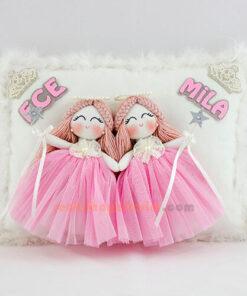 Ece Mila ikiz melek kız bebek takı yastığı