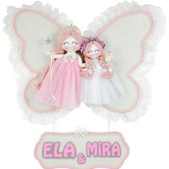 Ela Mira isimli ikili melek kız bebek kapı süsü manolya