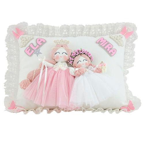 Ela Mira isimli ikili melek kız bebek süs yastığı