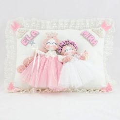 Ela Mira isimli ikili melek kız bebek yastığı