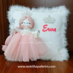 Erva isimli melek kanatlı kız bebek takı yastığı