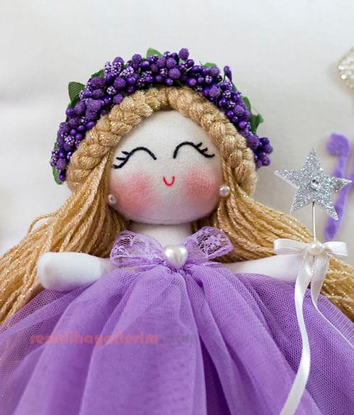 Leylak ipek isimli melek kız bebek takı ve süs yastığı