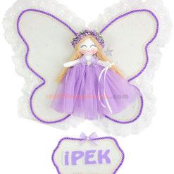 ipek isimli melek kanatlı kız bebek kapı süsü leylak