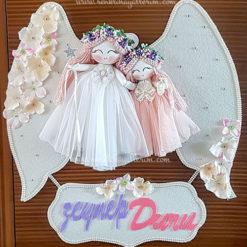 Kamelya ikili melek bebek kapı süsü 1