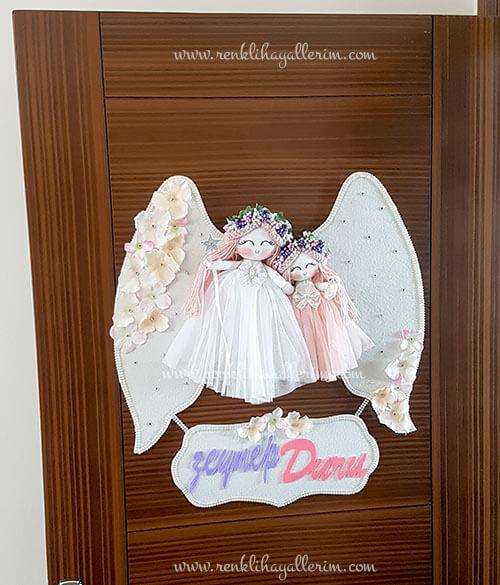 Kamelya ikili melek bebek kapı süsü 2