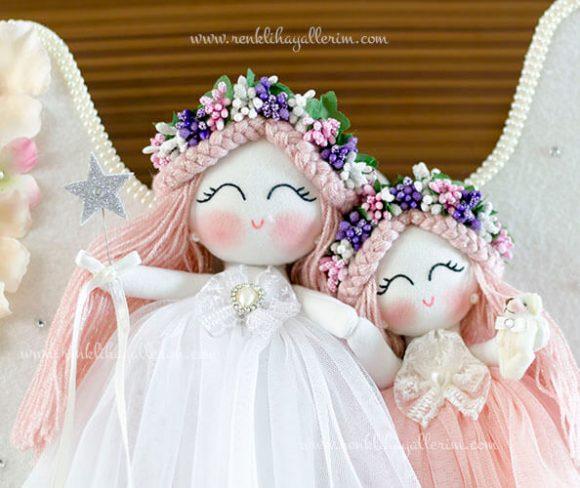 Kamelya ikili melek bebek kapı süsü 3