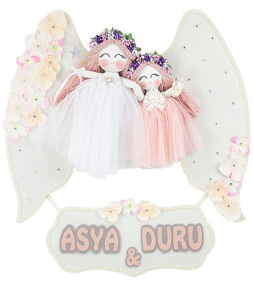 asya duru isimli ikili melek kız bebek kapı süsü