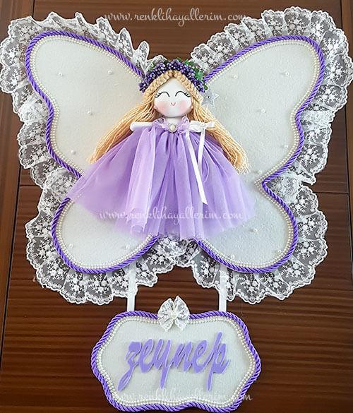 Leylak melek kız bebek kapı süsü 3