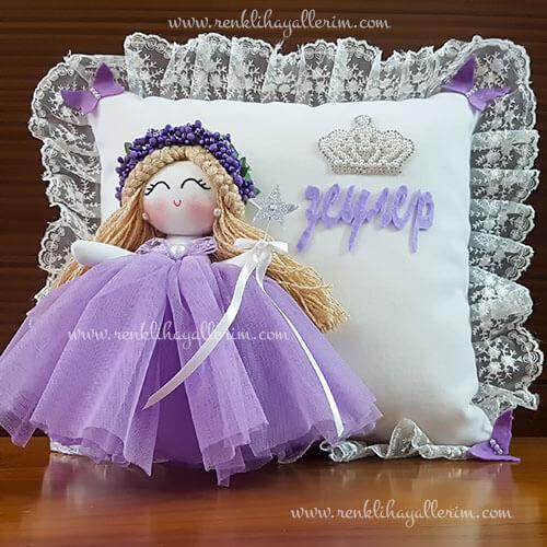 Leylak melek kız bebek takı ve süs yastığı 1
