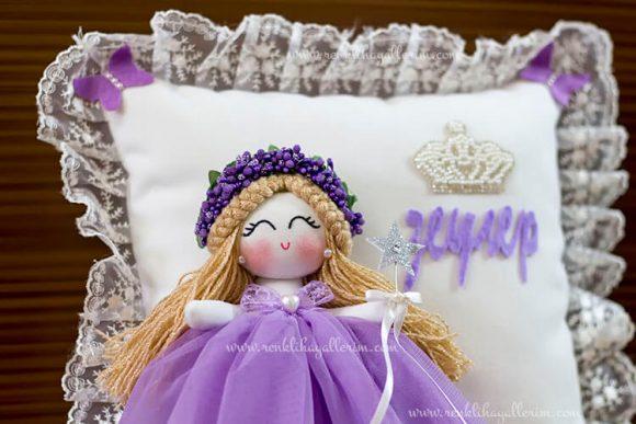 Leylak melek kız bebek takı ve süs yastığı 3
