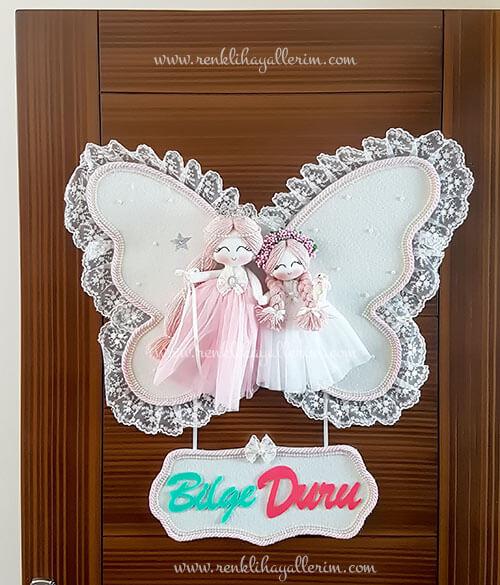 manolya ikili melek bebek kapı süsü 1