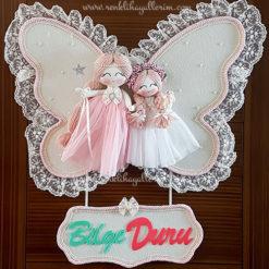 manolya ikili melek bebek kapı süsü 2