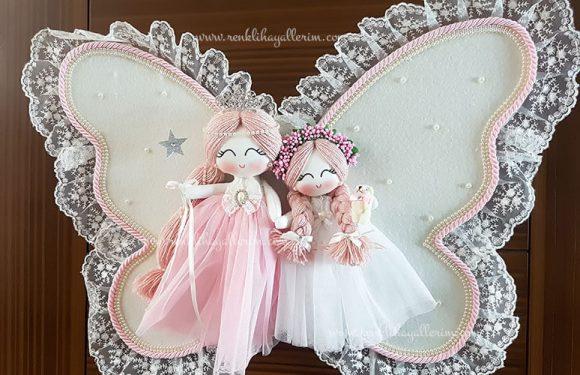 manolya ikili melek bebek kapı süsü 3
