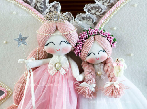 manolya ikili melek bebek kapı süsü 4