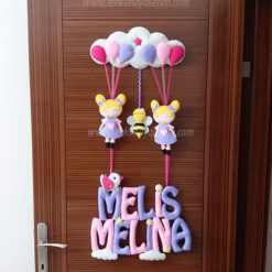 Pembe Mor Kardeşler Kapı Süsü Melis Melina