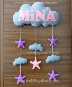 Mina isimli bulutlu bebek kapı süsü
