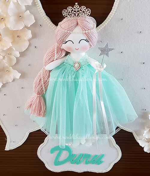 Papatya melek kız bebek kapı süsü 5