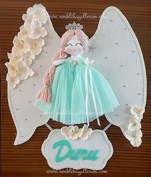 Papatya melek kız bebek kapı süsü 6
