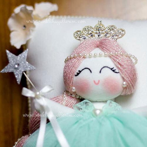 Papatya melek kız bebek takı ve süs yastığı 2