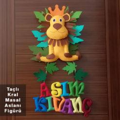 Aslan Kral Bebek Kapı Süsü - Taçlı Kral Masal Aslanı