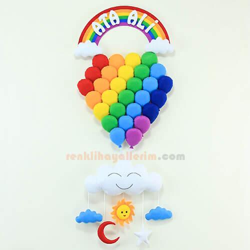 Ata Ali isimli Gökkuşağı Çoklu Balon Bebek Kapı Süsü
