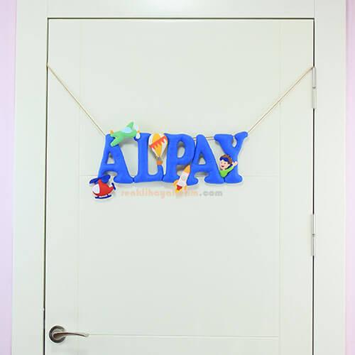 Alpay isimli isimlik kapı süsü tam boy