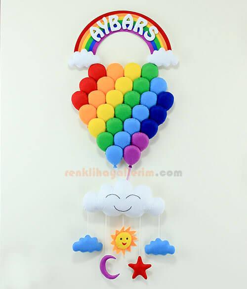Aybars Çoklu Gökkuşağı Balon Çocuk Kapı Süsü