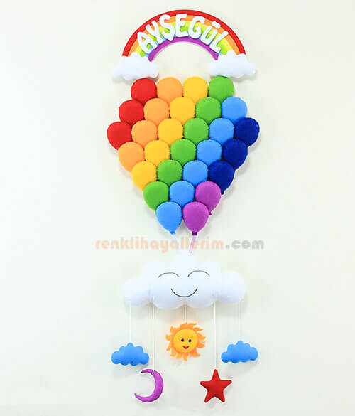 Ayşegül isimli Gökkuşağı Çoklu Balon Bebek Kapı Süsü