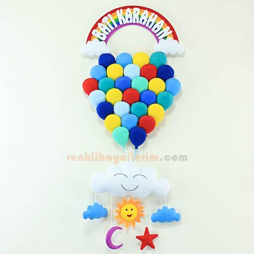 Batı Karahan Çoklu Balon Mavilikler Çocuk Kapı Süsü
