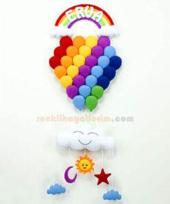 Erva isimli Gökkuşağı Çoklu Balon Bebek Kapı Süsü