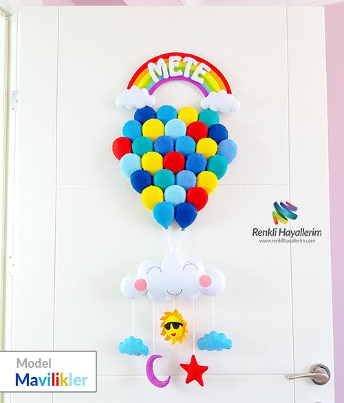 Gökkuşağı Balonlar Kapı Süsü - Mavilikler - Mete