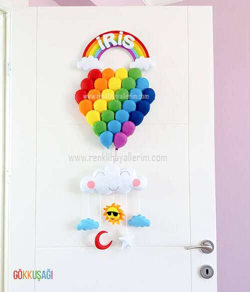 iris yazan gökkuşağı balonlar bebek kapı süsü