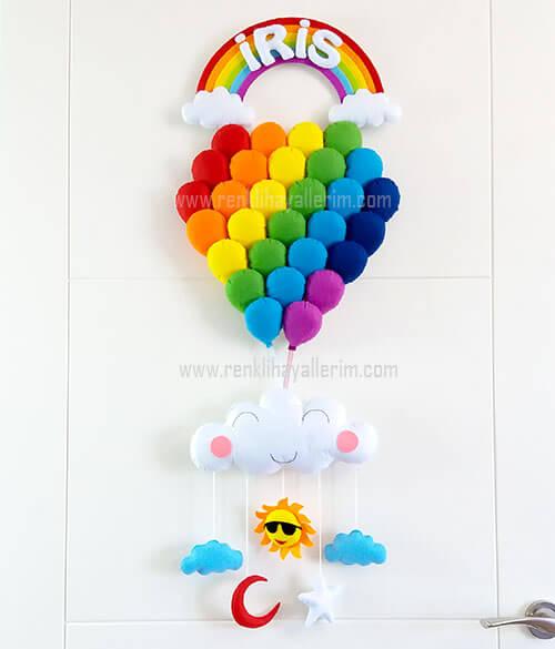 iris isimli gökkuşağı balonlar bebek kapı süsü