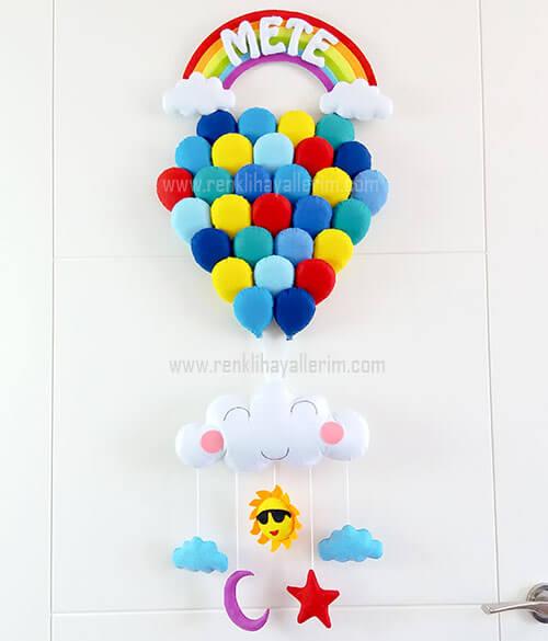 Mete isimli mavilikler balonlu bebek kapı süsü
