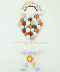Ömer Eymen isimli Kahve çoklu balonlar bebek kapı süsü