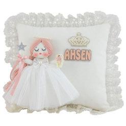 Ahsen isimli mimoza melek kız bebek takı ve süs yastığı