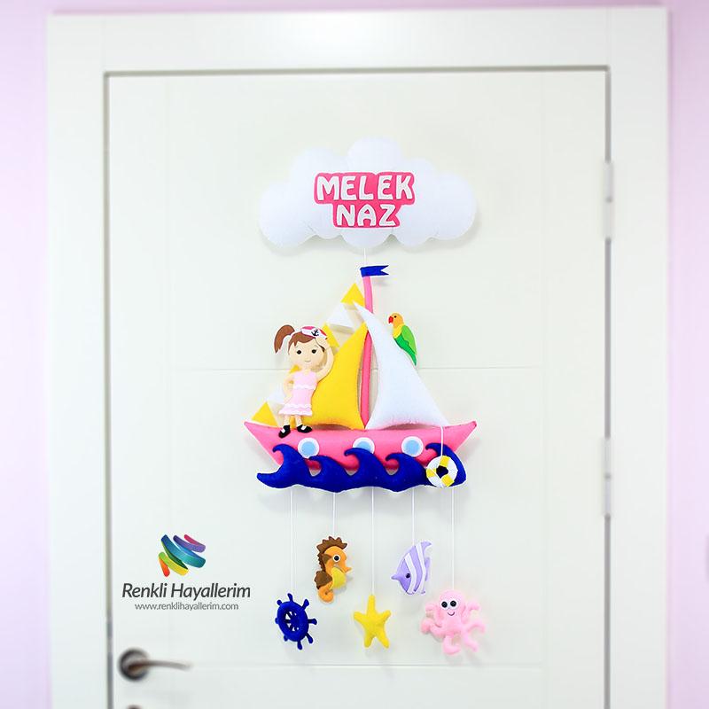 Denizci Kız Bebek Kapı Süsü - Melek Naz