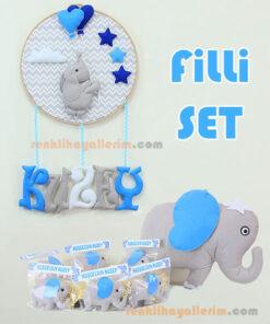 Filli doğum odası süsleme seti