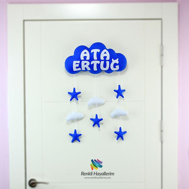 Ata Ertuğ isimli Lacivert Beyaz bulut bebek kapı süsü