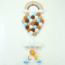 Kahve Çoklu Balonlar Bebek Kapı Süsü