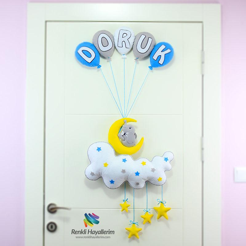 Balonlu Aydede Fil Bebek Odası Kapı Süsü Modeli - Doruk