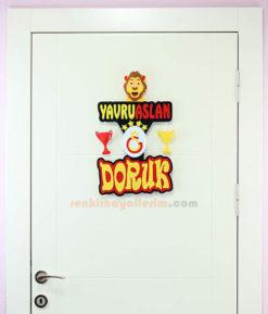 Doruk isimli Yavru Aslan Oda Kapı Süsü Tam Boy