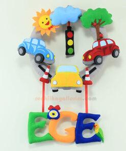 Ege isimli Arabalı Trafik Bebek Kapı Süsü