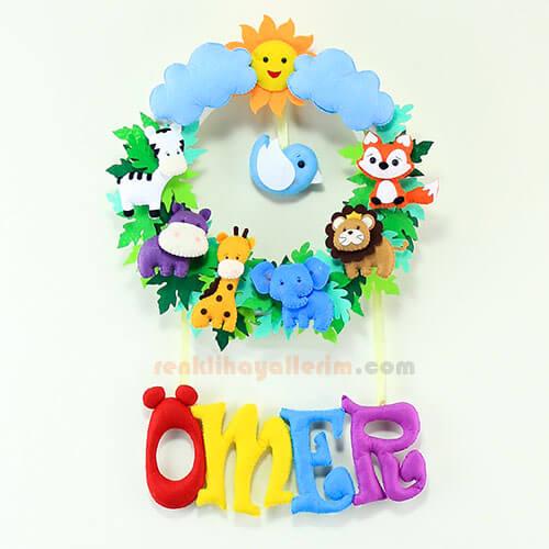 Ömer isimli safari bebek odası kapı süsü