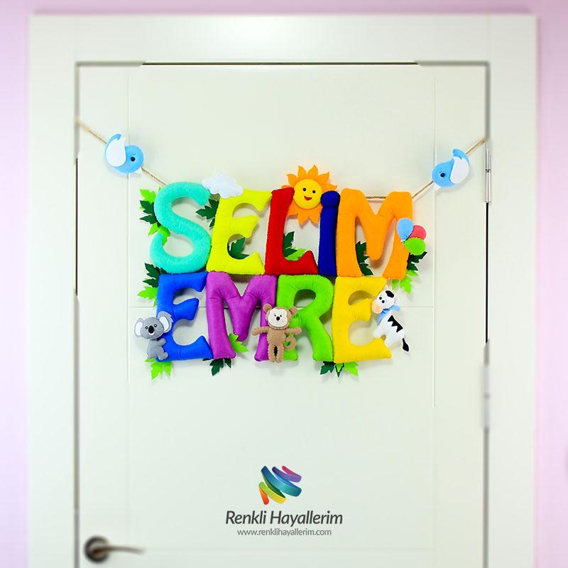 Selim Emre isimlik isimlik bebek odası kapı süsü