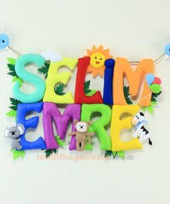 Selim Emre isimli isimlik bebek odası kapı süsü