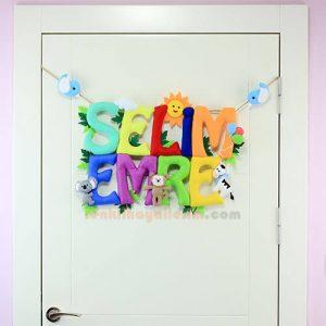 Selim Emre isimli isimlik bebek odası kapı süsü tam boy