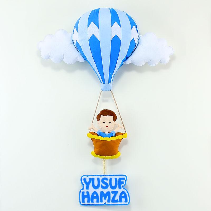 Sıcak Hava Balonlu Erkek Bebek Kapı Süsü