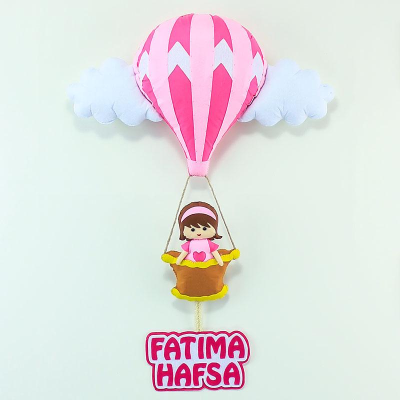 Sıcak Hava Balonlu Kız Bebek Kapı Süsü