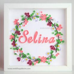 Selina isimli kır bahçesi quilling duvar süsü